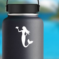 Mermaid Holding A Seashell Sticker on a Water Bottle example