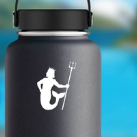 Merman Holding A Trident Sticker on a Water Bottle example