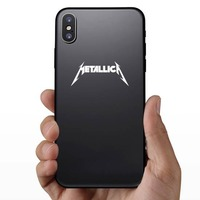 Metallica Sticker on a Phone example