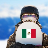 Mexico Flag Sticker on a Snowboard example
