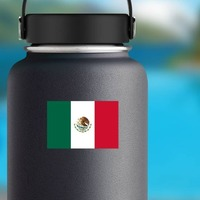 Mexico Flag Sticker on a Water Bottle example