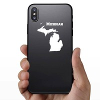 Michigan State Sticker on a Phone example