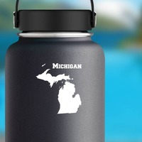 Michigan State Sticker on a Water Bottle example