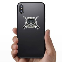 Military Pilot Skull with Crossed Guns Sticker on a Phone example