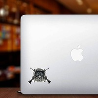 Military Pilot Skull with Crossed Guns Sticker on a Laptop example
