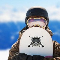 Military Pilot Skull with Crossed Guns Sticker on a Snowboard example