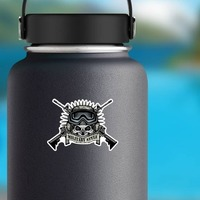 Military Pilot Skull with Crossed Guns Sticker on a Water Bottle example