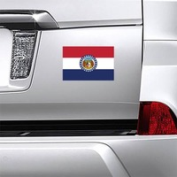 Missouri Mo State Flag Magnet on a Car Bumper example