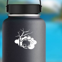 Moon In Cloud With Tree Silhouetted Sticker on a Water Bottle example