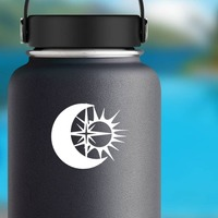 Moon Sun And Star Sticker on a Water Bottle example