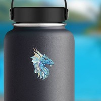 Mosaic Dragon Sticker on a Water Bottle example