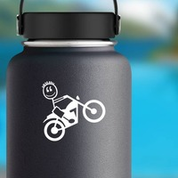 Motorcycle Boy Family Sticker on a Water Bottle example