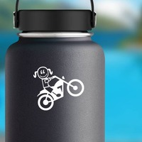 Motorcycle Small Girl Family Sticker on a Water Bottle example
