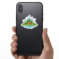 Moutain Camping Sticker on a Phone example