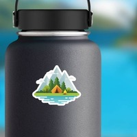 Moutain Camping Sticker on a Water Bottle example