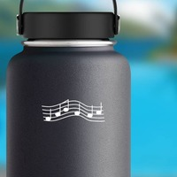 Music Notes On Stings Sticker on a Water Bottle example