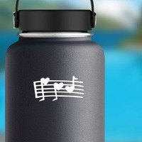 Music Notes With Hearts Sticker on a Water Bottle example