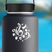 Music Notes With Stars Sticker on a Water Bottle example