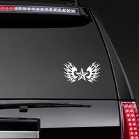 Nautical Star With Flames Sticker on a Rear Car Window example
