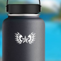Nautical Star With Flames Sticker on a Water Bottle example