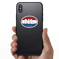 Netherlands Nl Flag Oval Sticker on a Phone example