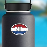 Netherlands Nl Flag Oval Sticker on a Water Bottle example