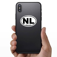 Netherlands Nl Oval Sticker on a Phone example