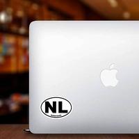 Netherlands Nl Oval Sticker on a Laptop example