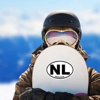 Netherlands Nl Oval Sticker on a Snowboard example
