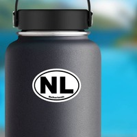 Netherlands Nl Oval Sticker on a Water Bottle example