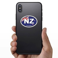 New Zealand Nz Flag Oval Sticker on a Phone example