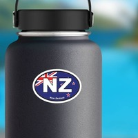 New Zealand Nz Flag Oval Sticker on a Water Bottle example