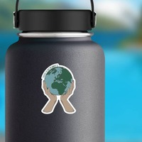 No Planet B Sticker on a Water Bottle example