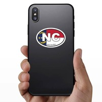 North Carolina Nc State Flag Oval Sticker on a Phone example