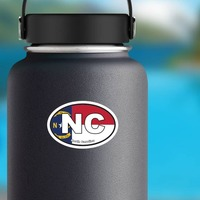 North Carolina Nc State Flag Oval Sticker on a Water Bottle example
