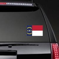 North Carolina Nc State Flag Sticker on a Rear Car Window example
