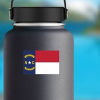 North Carolina Nc State Flag Sticker on a Water Bottle example