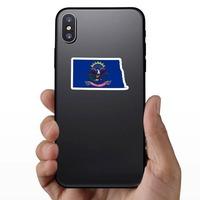 North Dakota Flag State Sticker on a Phone example