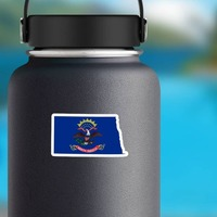 North Dakota Flag State Sticker on a Water Bottle example