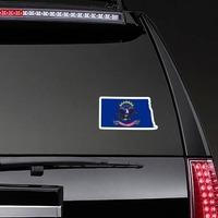 North Dakota Flag State Sticker on a Rear Car Window example