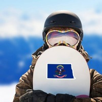 North Dakota Flag State Sticker on a Snowboard example