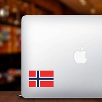 Norway Flag Sticker on a Laptop example