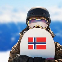 Norway Flag Sticker on a Snowboard example