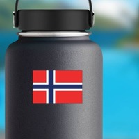 Norway Flag Sticker on a Water Bottle example