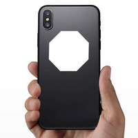 Octagon Shape Sticker on a Phone example