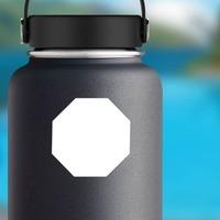 Octagon Shape Sticker on a Water Bottle example