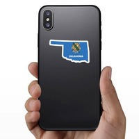 Oklahoma Flag State Sticker on a Phone example