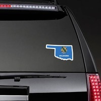 Oklahoma Flag State Sticker on a Rear Car Window example