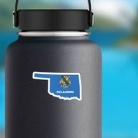 Oklahoma Flag State Sticker on a Water Bottle example