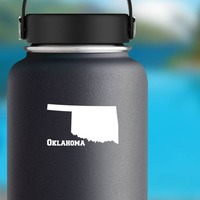 Oklahoma State Sticker on a Water Bottle example